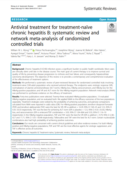 Antiviral treatment for treatment-naïve chronic hepatitis B: systematic review and network meta-analysis of randomized controlled trials